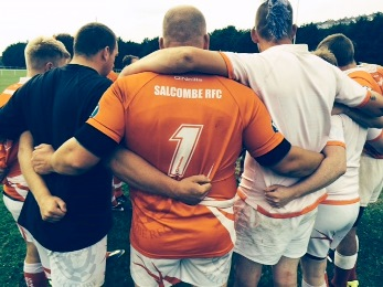 Salcombe Rugby Football Club pre-match huddle