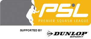 Premier Squash League supported by Dunlop Sport logo