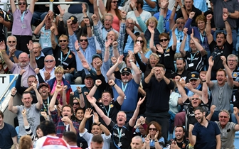 Exeter Chiefs fans celebrating - image courtesy Exeter Chiefs rugby